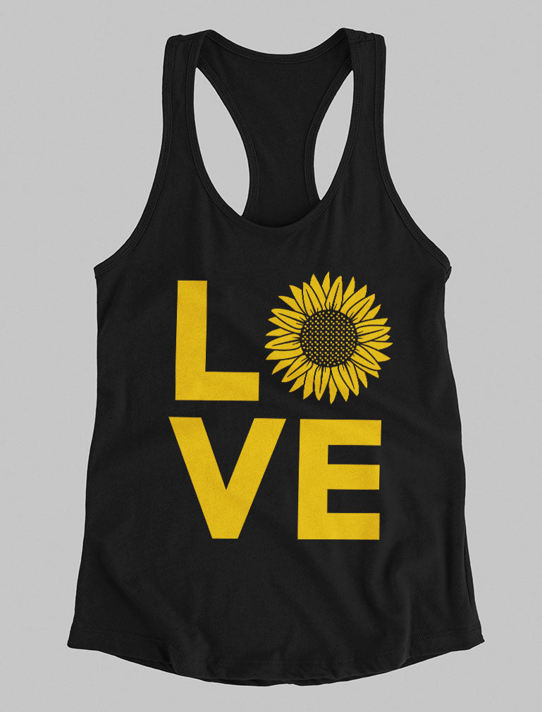 Love Sunflower Shirt for Women Teen Girls Cute Summer Racerback Tank Top