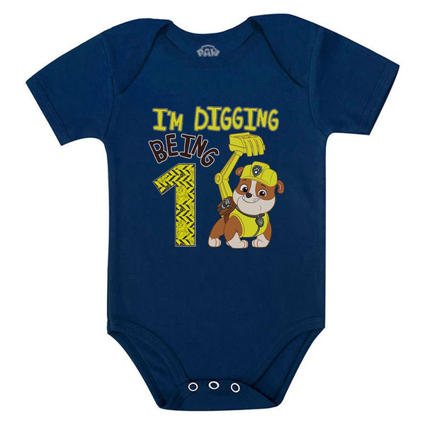 Tstars tshirts Paw Patrol Rubble Digging 1st Birthday Baby Boy Outfit Official Baby Bodysuit