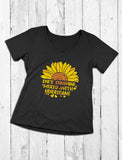 Cute Sunflower V-Neck Fitted Women T-Shirt