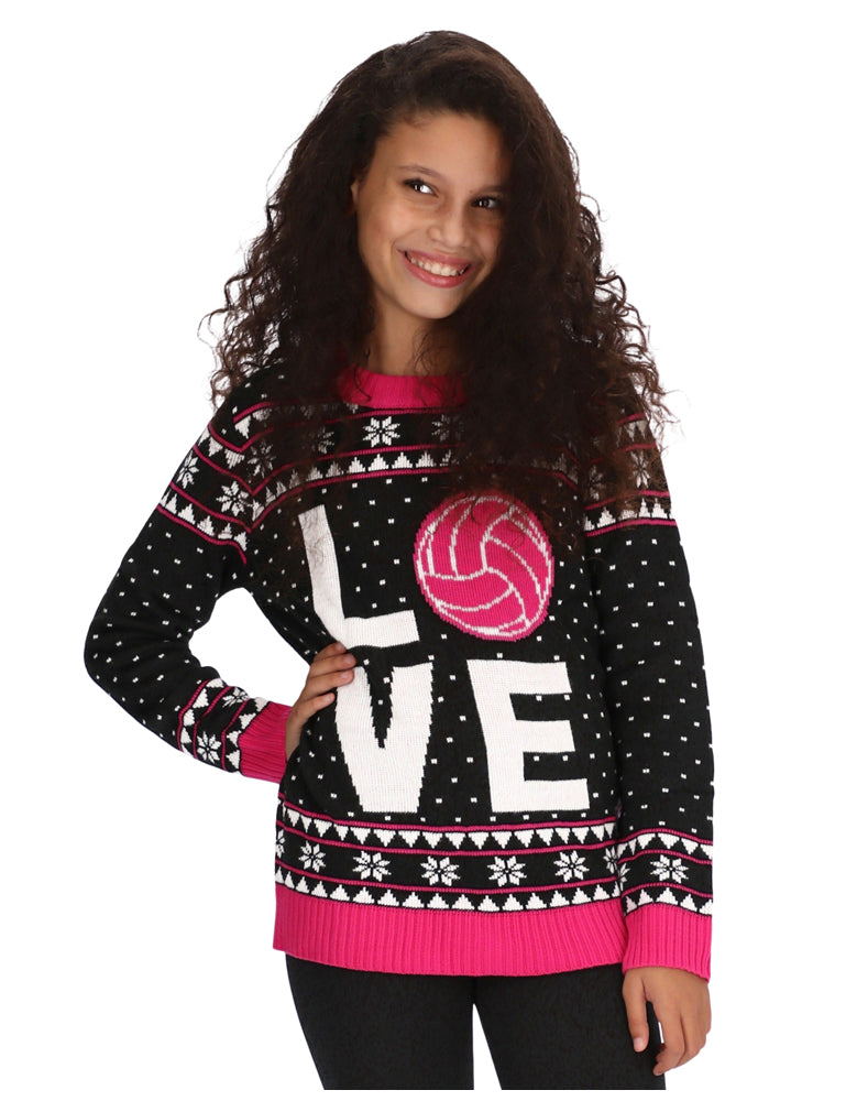 Love Volleyball for Volleyball Fans Girls Kids sweater