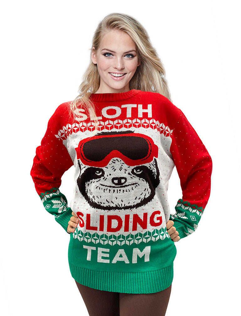 Sloth Sliding Team Ugly Christmas Sweater Men Women Funny Sloth Lover Sweater