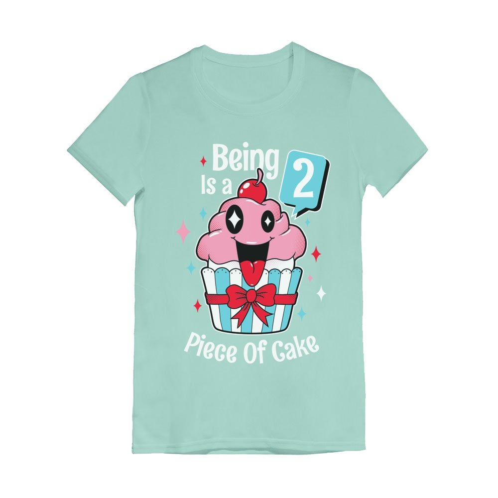 2 Year Old Girl 2nd Birthday Funny Cupcake Toddler Girls' Fitted T-Shirt