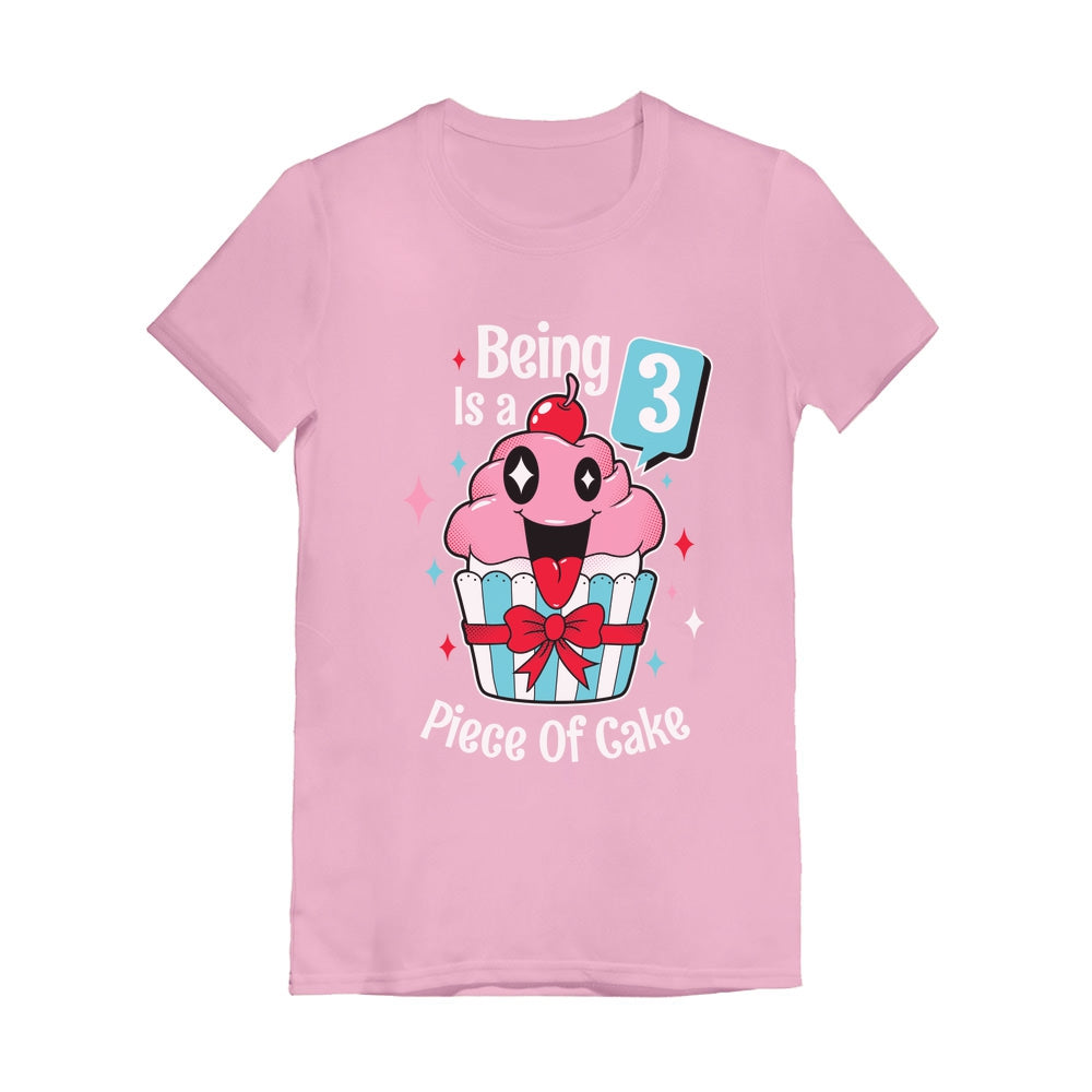 3 Year Old Girl 3rd Birthday Funny Cupcake Toddler Girls' Fitted T-Shirt