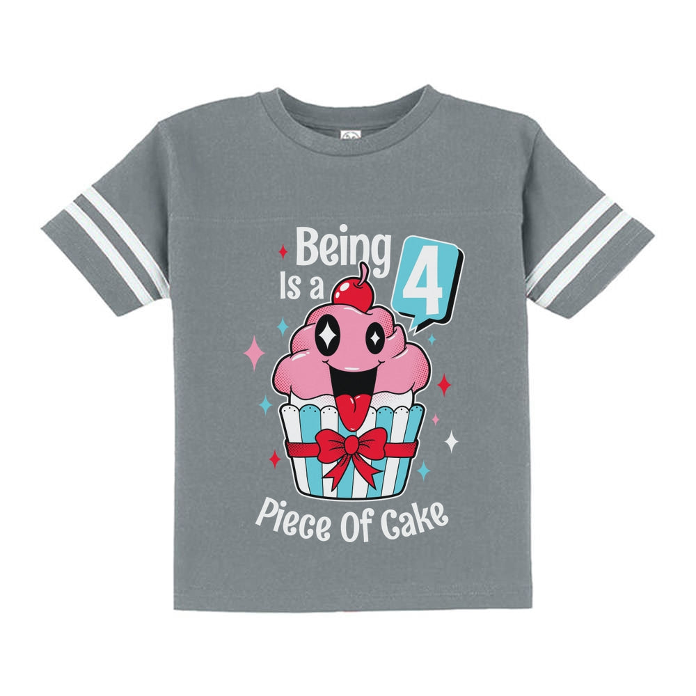 4 Year Old Girl 4th Birthday Funny Cupcake Toddler Jersey T-Shirt