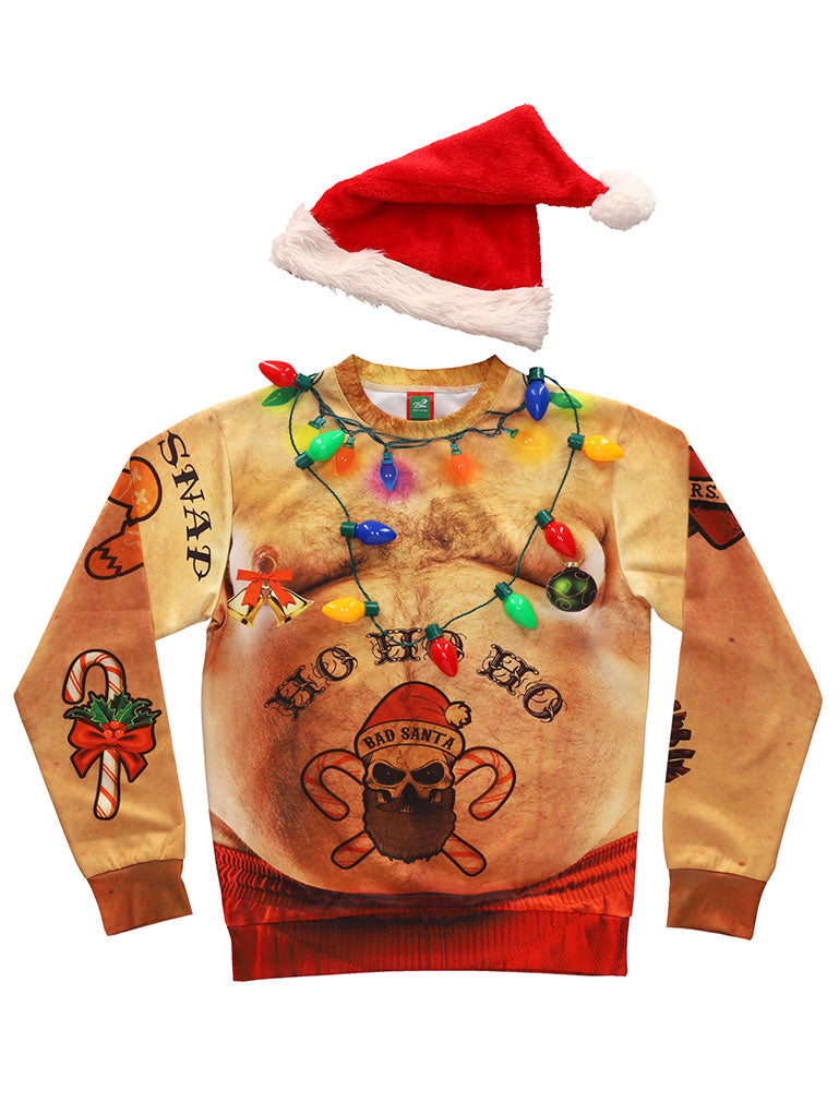 Ugly Christmas Crewneck Sweatshirt Funny 3D Graphic Long Sleeve Sweatshirt