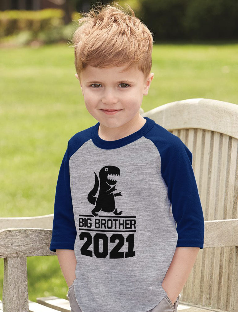 Gift for Big Brother 2021 T-Rex Boys 3/4 Sleeve Baseball Jersey Toddler Shirt