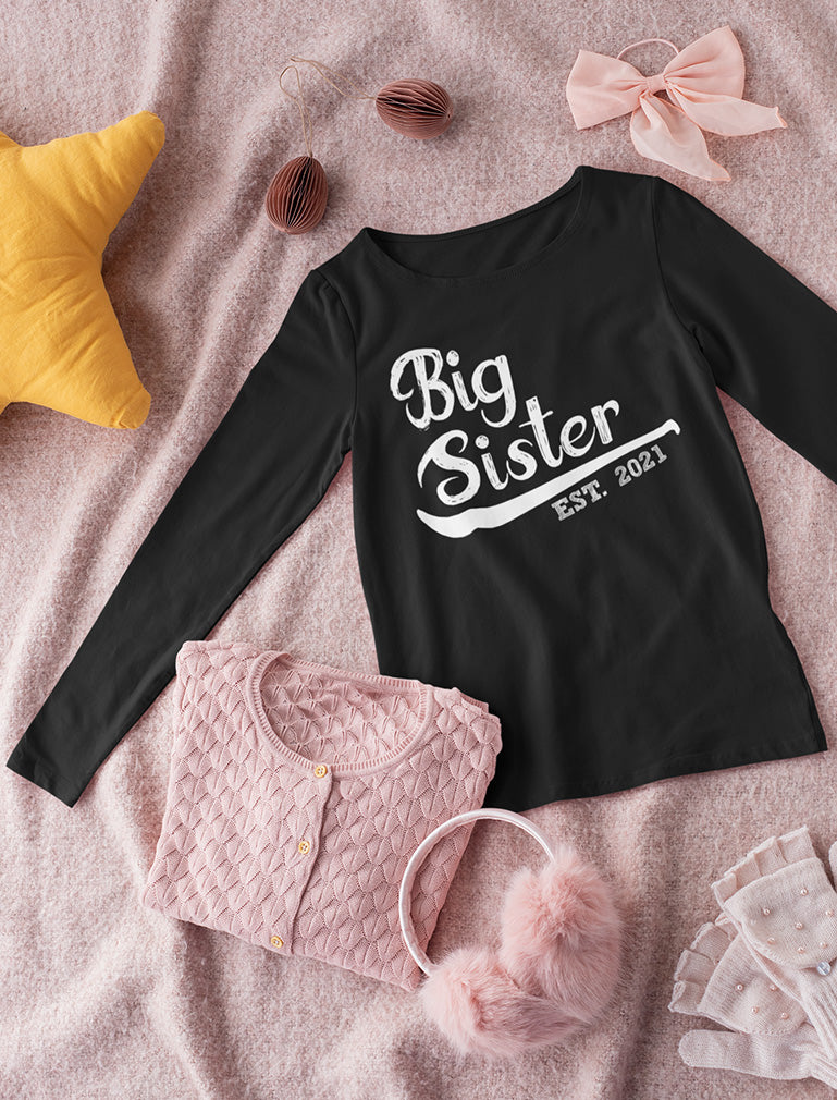 Gift for Big Sister 2021 Siblings Girls Toddler Kids Long sleeve T-Shirt