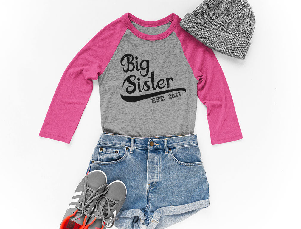 Gift for Big Sister 2021 Outfit Girls 3/4 Sleeve Baseball Jersey Toddler Shirt