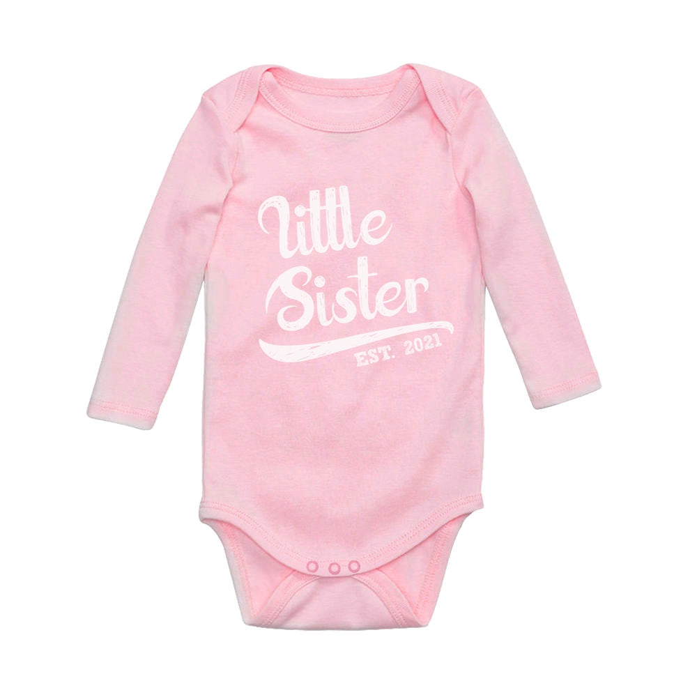 Little Sister 2021 Cute Siblings Outfit Lil Sis Girls Baby Long Sleeve Bodysuit