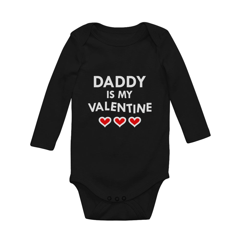 Daddy Is My Valentine Baby Long Sleeve Bodysuit
