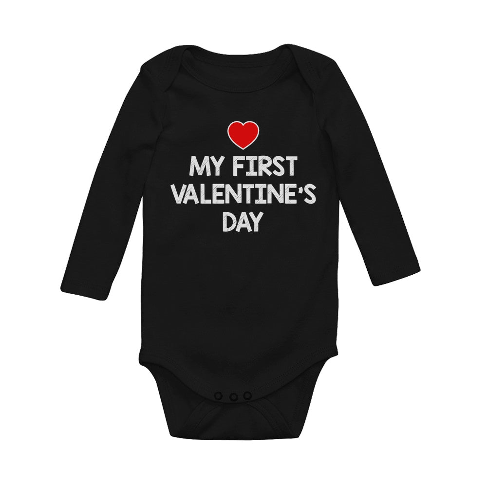 My First Valentine's Day Baby Long Sleeve Bodysuit