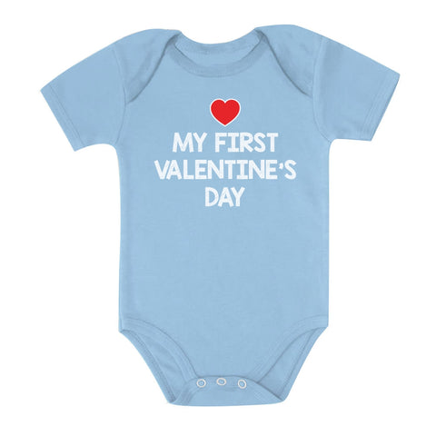 Tstars tshirts My First Valentine's Day Baby Bodysuit