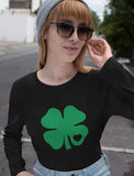 Green Clover Heart Women Long Sleeve T-Shirt