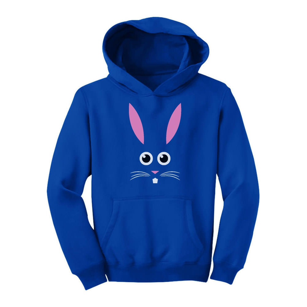 Children's Easter Bunny Face Youth Hoodie - Blue