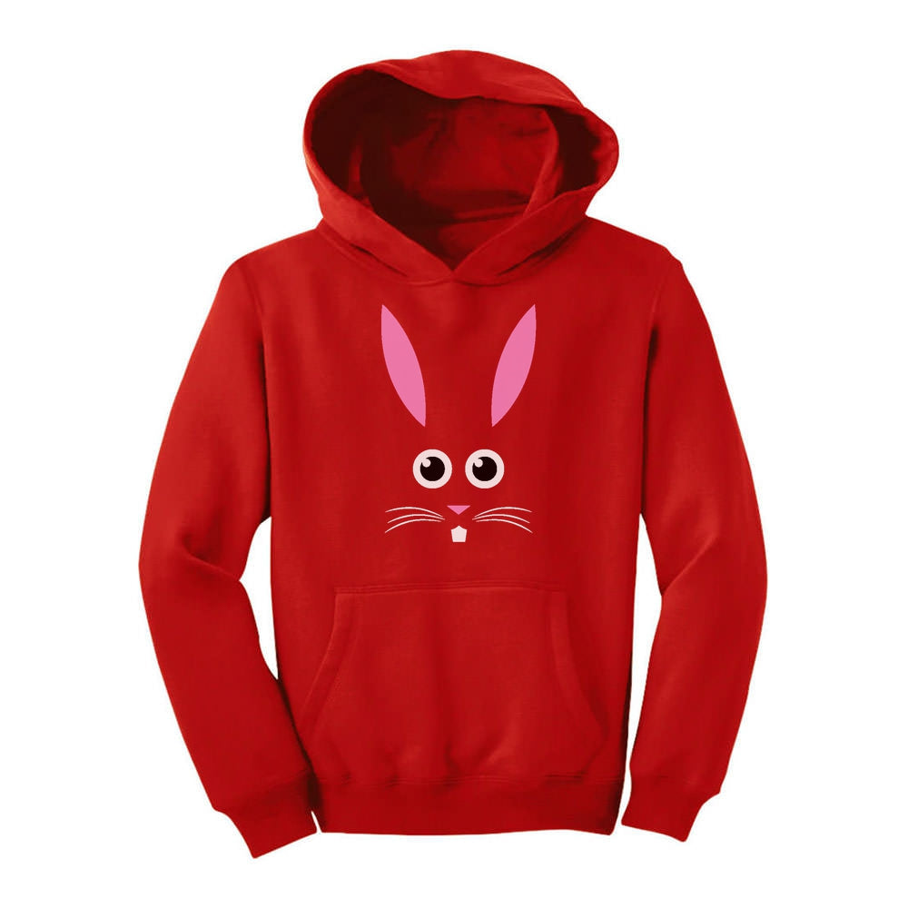 Children's Easter Bunny Face Youth Hoodie - Red