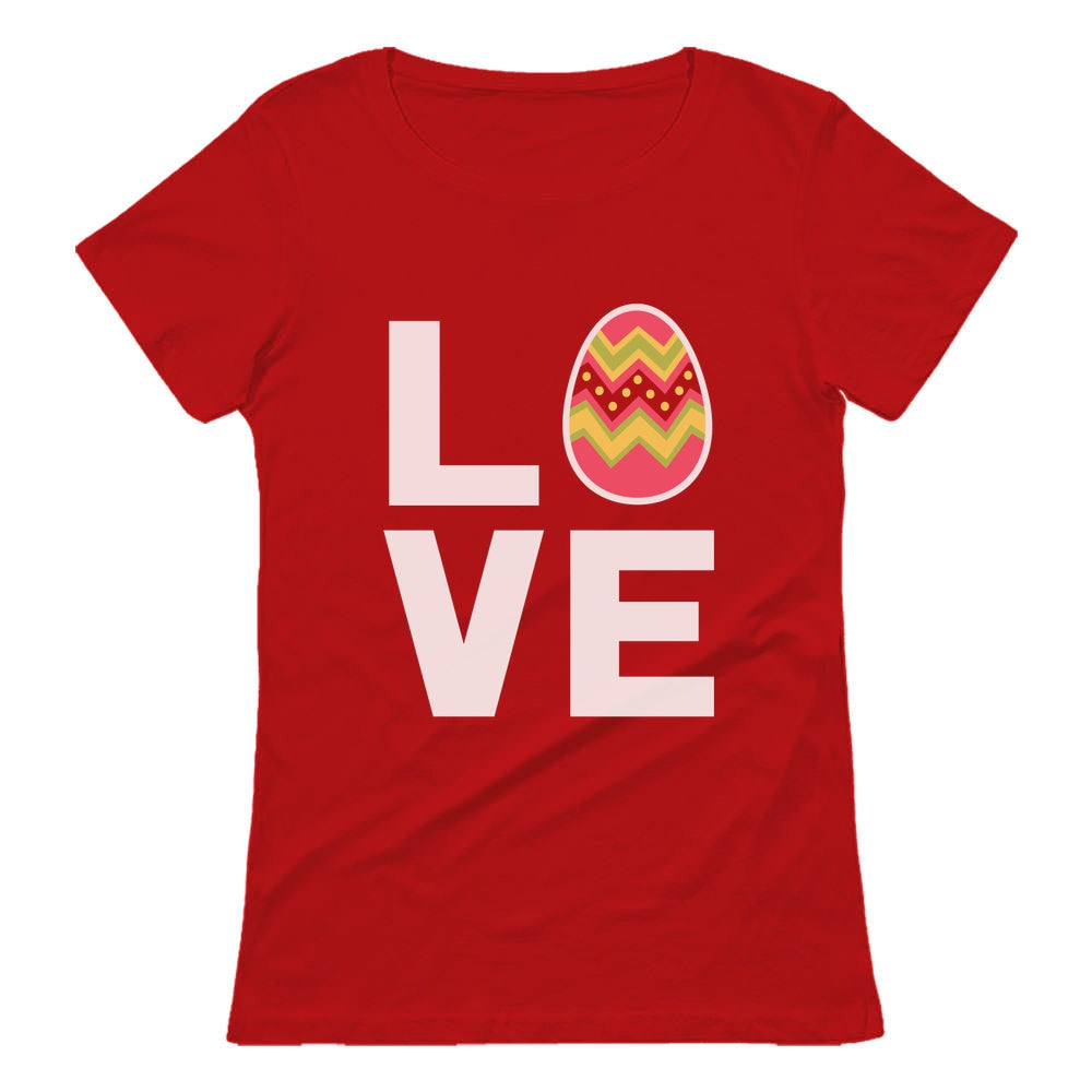 I Love Easter Cute Decorated Egg Women T-Shirt - Red