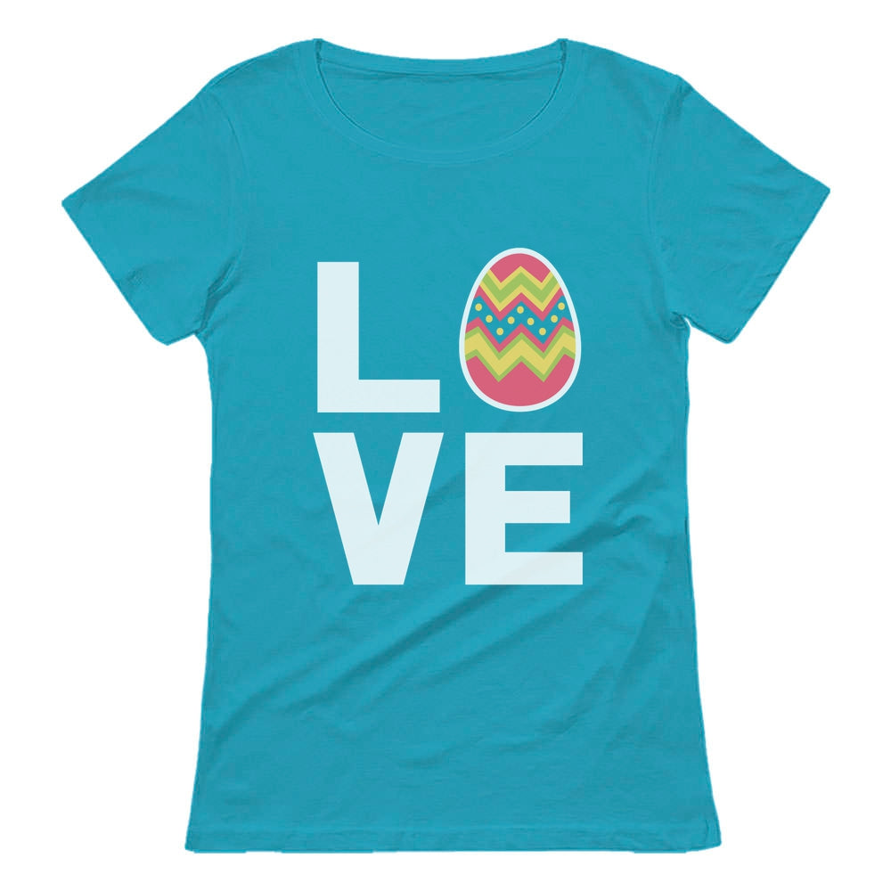 I Love Easter Cute Decorated Egg Women T-Shirt - Aqua