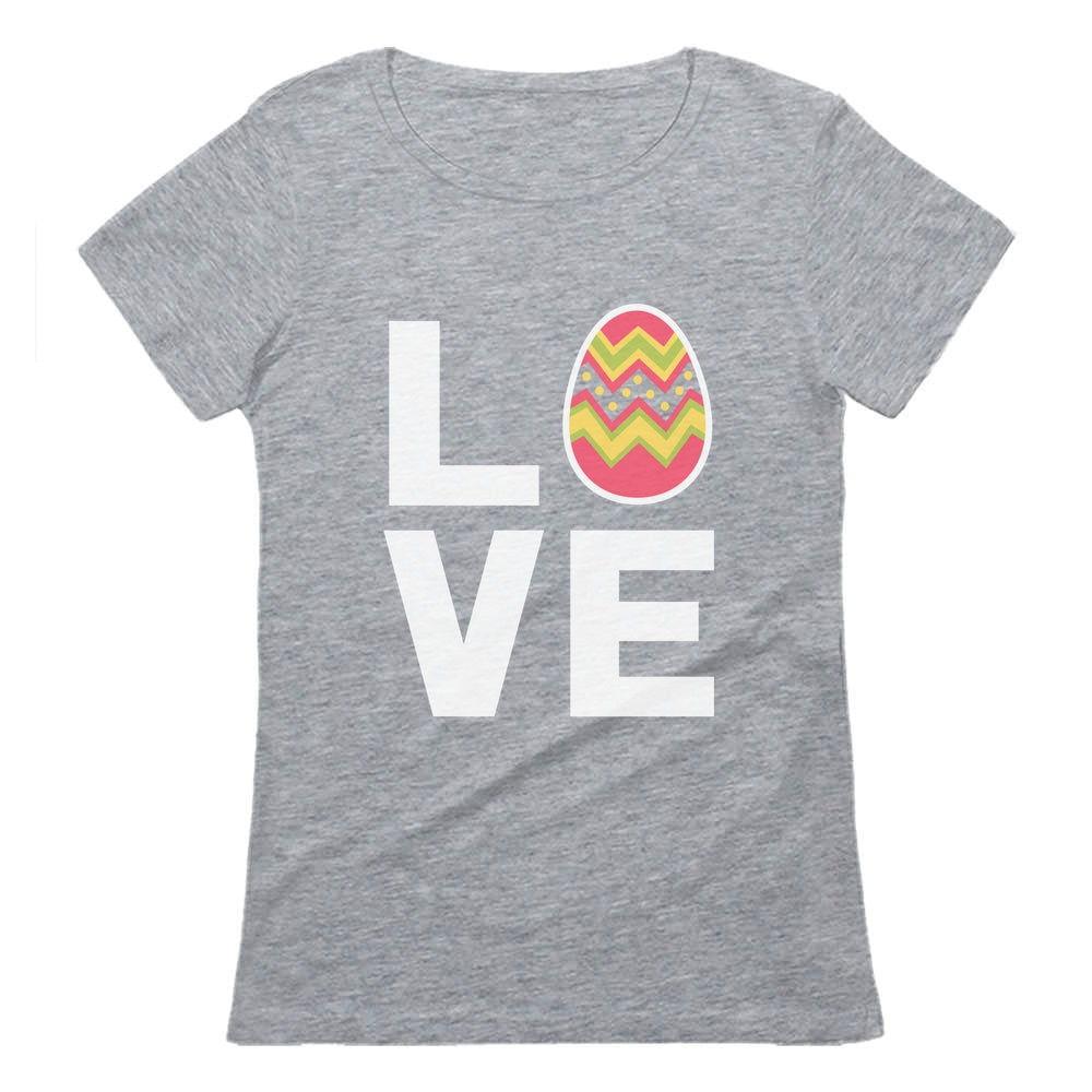 I Love Easter Cute Decorated Egg Women T-Shirt - Gray