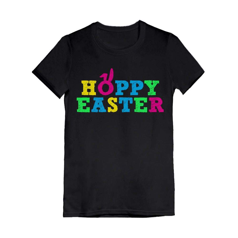Cute Colorful Hoppy Easter Toddler Kids Girls' Fitted T-Shirt - Black