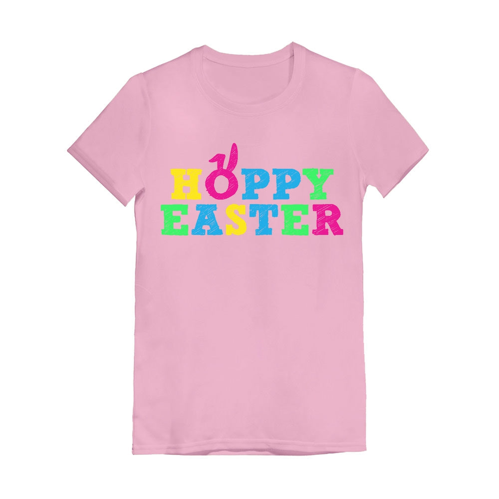 Cute Colorful Hoppy Easter Toddler Kids Girls' Fitted T-Shirt - Pink
