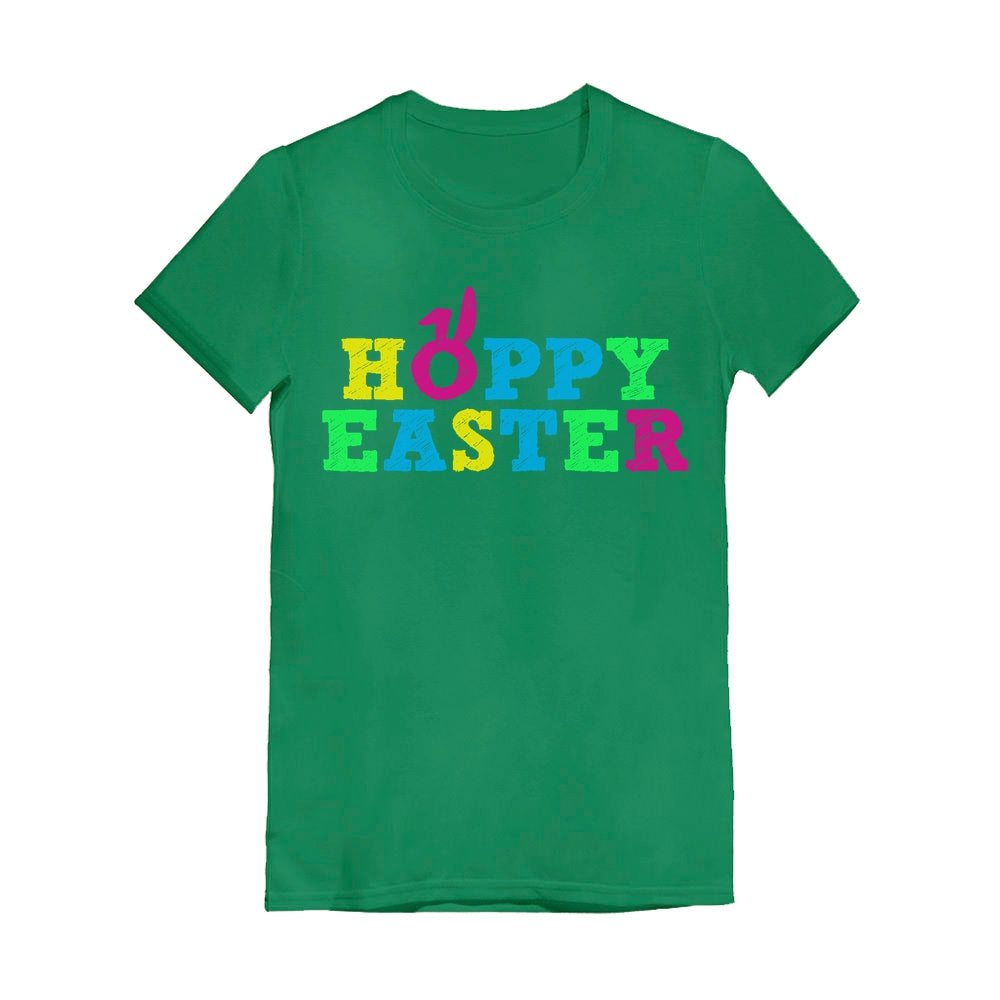 Cute Colorful Hoppy Easter Toddler Kids Girls' Fitted T-Shirt - Green