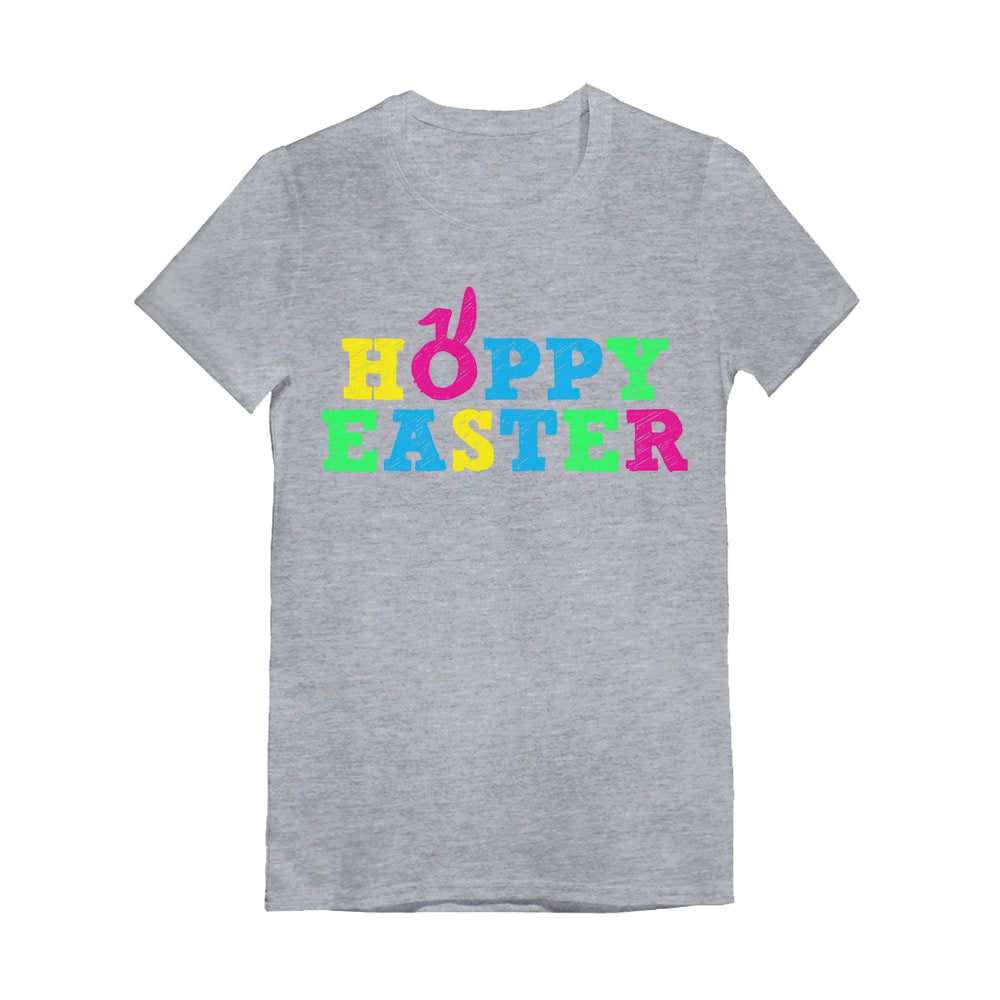 Cute Colorful Hoppy Easter Toddler Kids Girls' Fitted T-Shirt - Gray