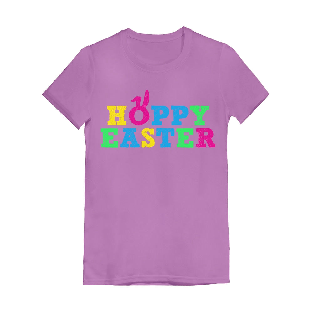 Cute Colorful Hoppy Easter Toddler Kids Girls' Fitted T-Shirt - Lavender