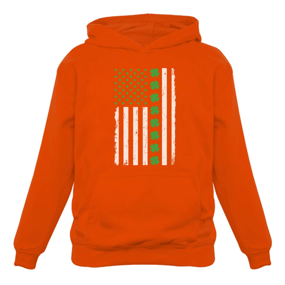 Irish Clover American Flag Hoodie - Orange