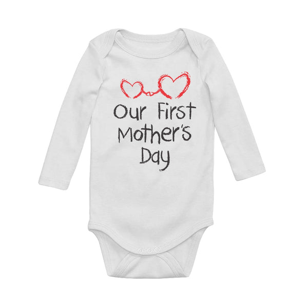 Tstars tshirts Our First Mother's Day Baby Long Sleeve Bodysuit