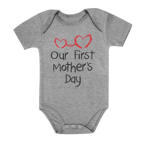 Tstars tshirts Our First Mother's Day Baby Bodysuit