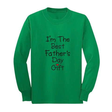 Tstars tshirts I'm The Best Father's Day Gift Youth Kids Long Sleeve T-Shirt