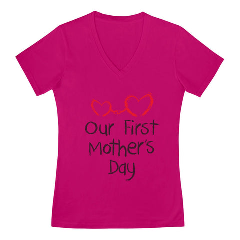 Tstars tshirts Our First Mother's Day V-Neck Fitted Women T-Shirt