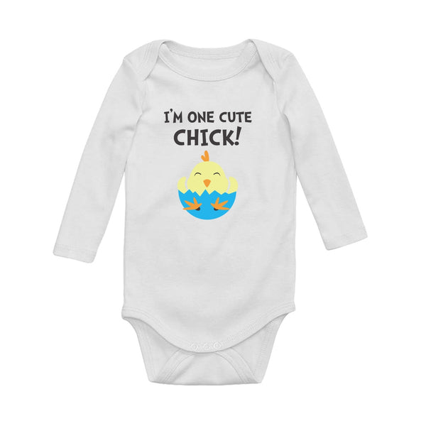Tstars tshirts I'm One Cute Chick Baby Long Sleeve Bodysuit