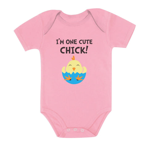 Tstars tshirts I'm One Cute Chick Baby Bodysuit