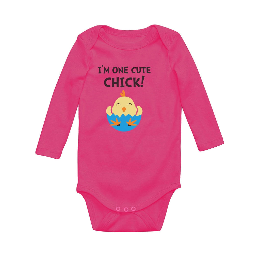 I'm One Cute Chick Baby Long Sleeve Bodysuit