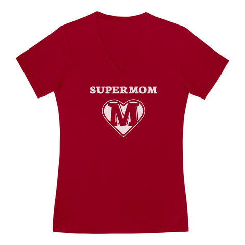 Tstars tshirts Super Mom V-Neck Fitted Women T-Shirt