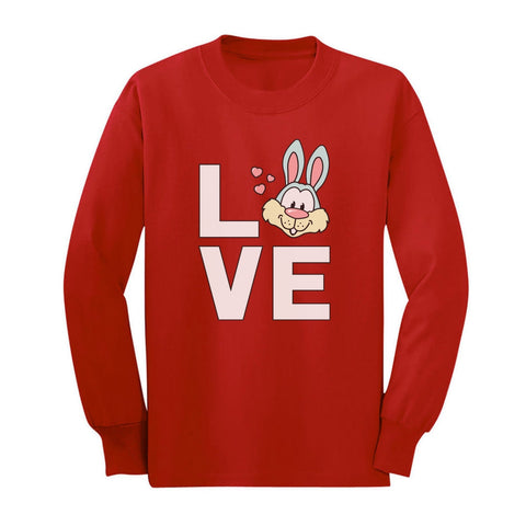 Tstars tshirts Love Bunny Youth Kids Long Sleeve T-Shirt