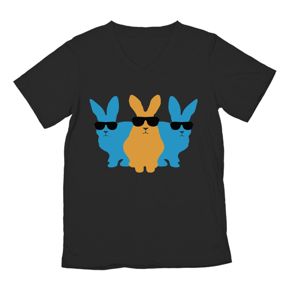 Hip Trio Bunnies Shades Funny Hipster Easter V-Neck T-Shirt - Black