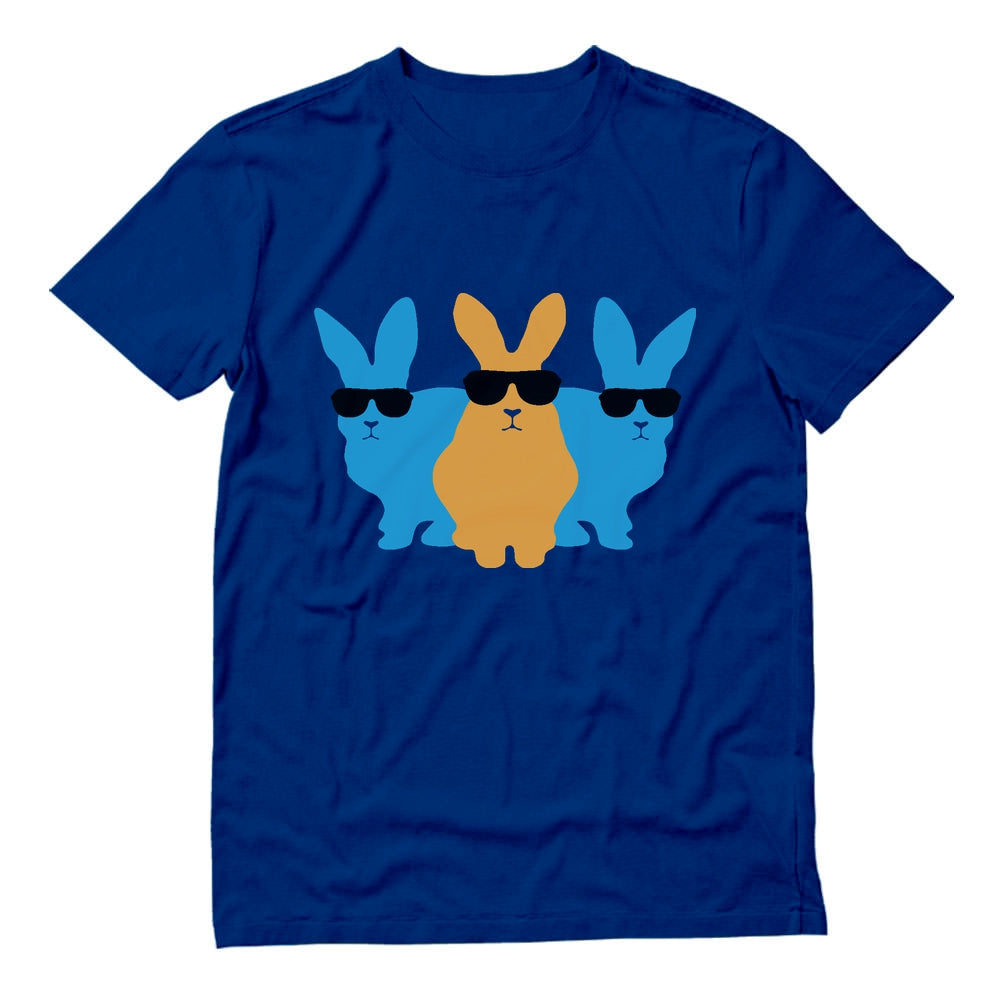 Hip Trio Bunnies Shades Funny Hipster Easter T-Shirt - Blue