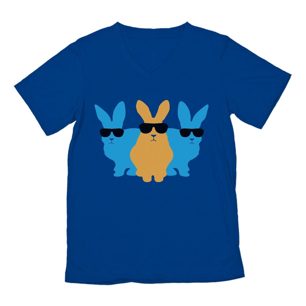 Hip Trio Bunnies Shades Funny Hipster Easter V-Neck T-Shirt - Blue