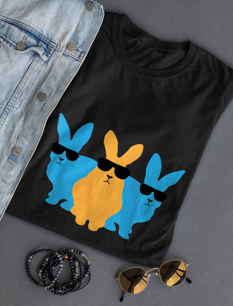 Hip Trio Bunnies Shades Funny Hipster Easter T-Shirt - Navy