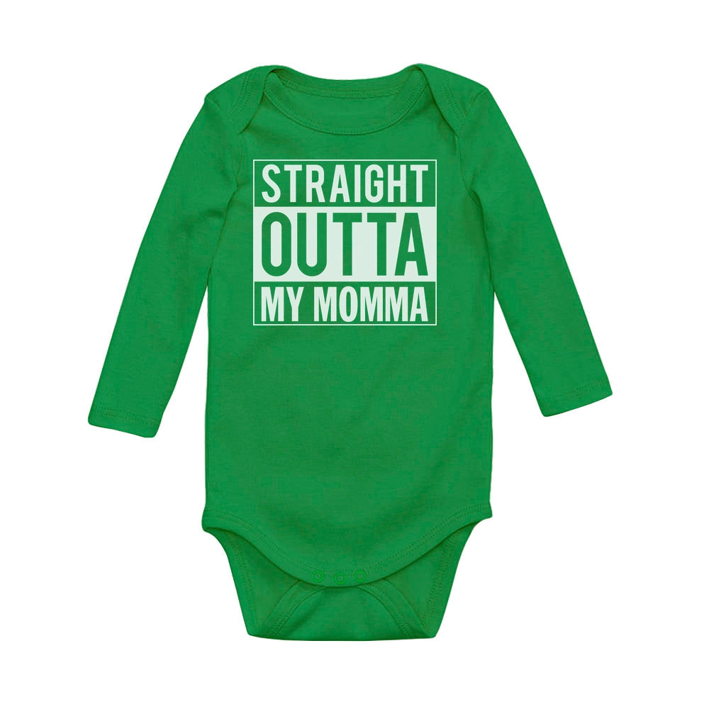 Straight Outta My Momma Baby Long Sleeve Bodysuit