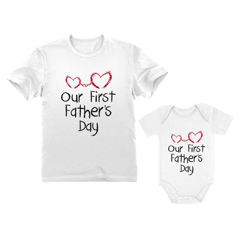 6bd863a6 Tstars tshirts Our First Father's Day Gift For Dad & Baby Matching Set  Bodysuit & Men's