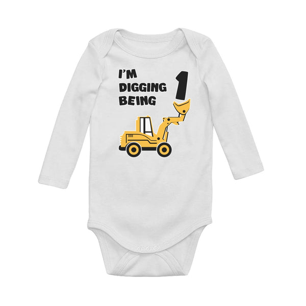 Tstars tshirts Digging being 1 - 1st Birthday Baby Long Sleeve Bodysuit
