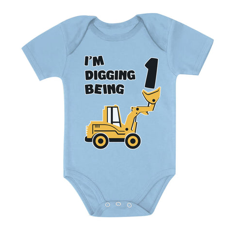 Tstars tshirts Digging being 1 - 1st Birthday Baby Bodysuit