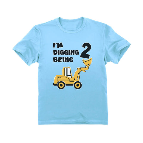 Tstars tshirts Digging Being 2 - Two Years Old Birthday Youth Kids T-Shirt