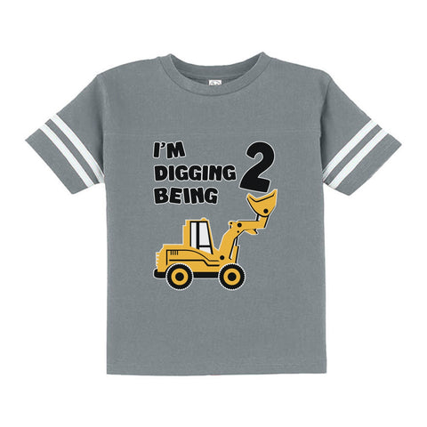 Tstars tshirts Digging Being 2 - Two Years Old Birthday Toddler Jersey T-Shirt