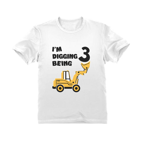Tstars tshirts Digging Being 3 - Three Years Old Birthday Youth Kids T-Shirt