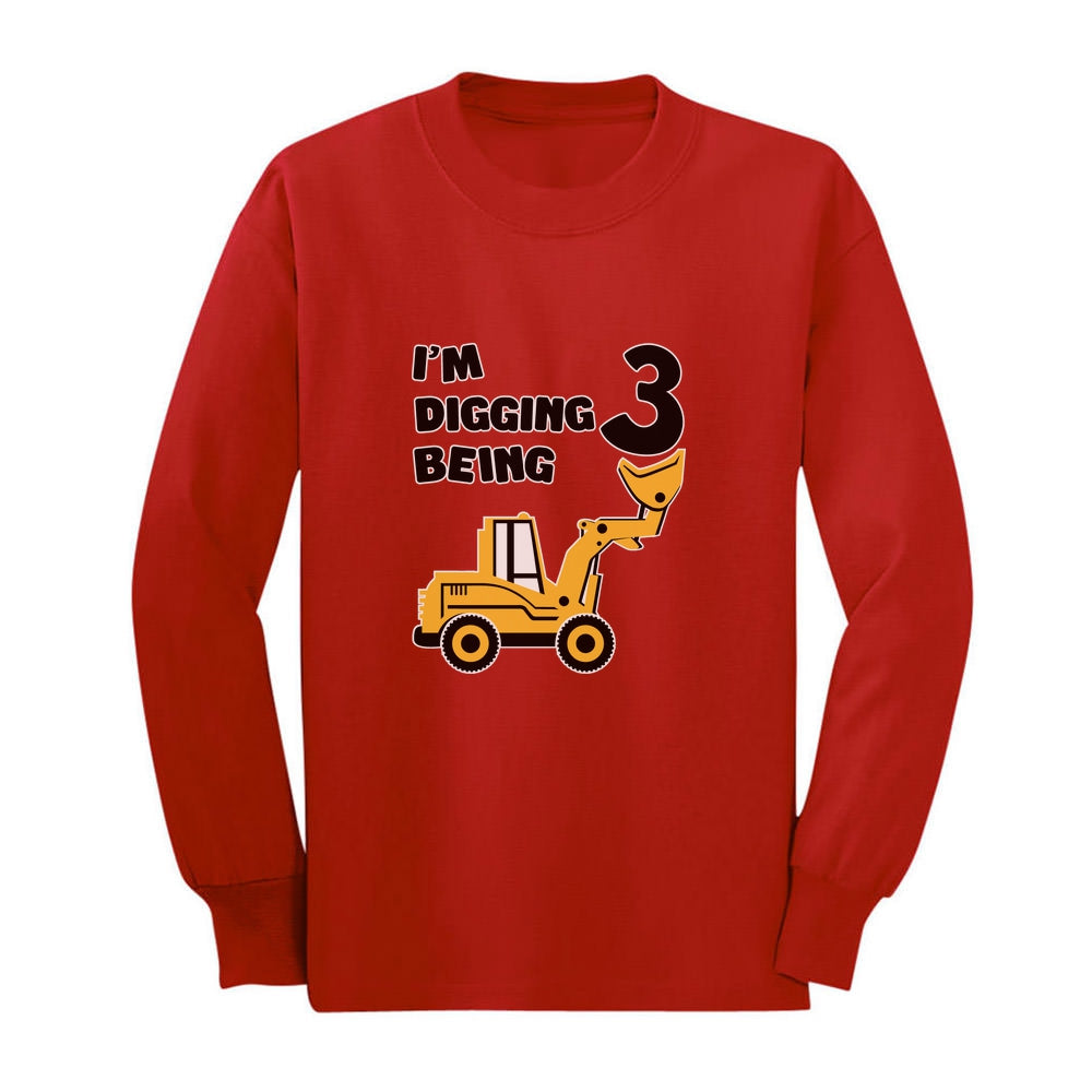 Digging Being 3 - Three Years Old Birthday Youth Long Sleeve T-Shirt