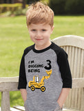 Digging Being 3 Birthday 3 Years Old 3/4 Sleeve Baseball Jersey Toddler Shirt